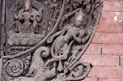 Dettaglio del tempio indù in Kirtipur, Nepal fotografia stock