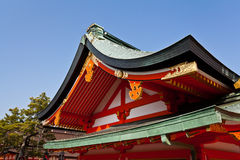 Dettaglio del tetto del santuario del giapponese Fotografie Stock