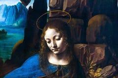 Dettaglio del vergine della roccia da Leonardo da Vinciat il National Gallery di Londra Immagine Stock