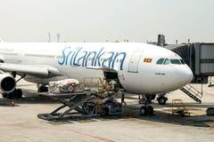 Dettaglio dell'aeroplano Airbus 340-300 Fotografie Stock Libere da Diritti