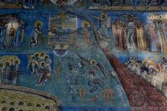 Dettaglio dell'affresco di Giorno del Giudizio Finale sulla parete occidentale Fotografia Stock