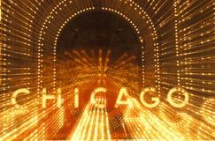 Dettaglio dell'insegna al neon sul teatro di Chicago, Chicago, Illinois Immagine Stock