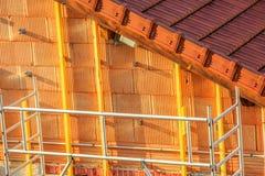 dettaglio dell'isolamento della parete in una nuova casa Fotografie Stock Libere da Diritti