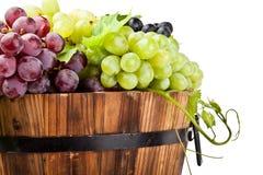 Dettaglio dell'uva sul vecchio barilotto di vino, isolato Fotografia Stock