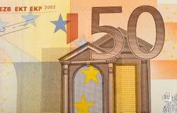 Dettaglio della banconota dei soldi dell'euro cinquanta Fotografia Stock