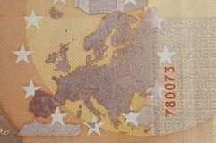 Dettaglio della banconota dell'euro cinquanta Fotografie Stock Libere da Diritti