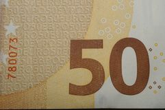 Dettaglio della banconota dell'euro cinquanta Immagini Stock