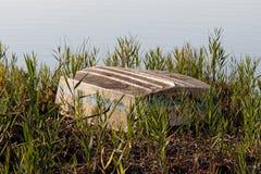 Dettaglio della barca arrugginita in un lago Immagini Stock Libere da Diritti