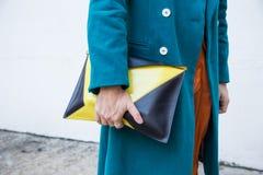 Dettaglio della borsa alla settimana di modo del ` s di Milan Men Fotografia Stock