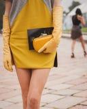 Dettaglio della borsa fuori delle sfilate di moda di Cavalli che costruiscono per la settimana 2014 del modo di Milan Women Immagine Stock Libera da Diritti