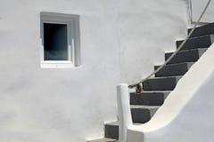 Dettaglio della casa greca con i punti e la finestra, Santorini Fotografie Stock Libere da Diritti