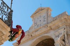 Dettaglio della cattedrale di Siracusa e di Palazzo Vermexio Fotografie Stock