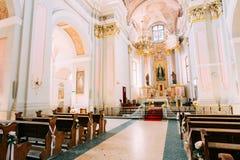 Dettaglio della cattedrale interna del san vergine Maria a Minsk, Bielorussia Fotografia Stock Libera da Diritti