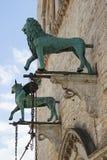 Dettaglio della facciata del dei Priori, Perugia, Italia di Palazzo fotografia stock