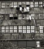 Dettaglio della facciata e di vecchie allerte di legno 2 Fotografia Stock