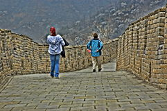 Dettaglio della grande muraglia della Cina in HDR Immagini Stock Libere da Diritti