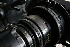 Dettaglio della lente, macchina fotografica digitale del cinema Fotografia Stock