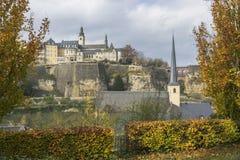 Dettaglio della linea famosa del cielo della città di Lussemburgo Immagini Stock