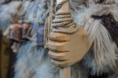 Dettaglio della mano dalla statua di legno Fotografie Stock Libere da Diritti
