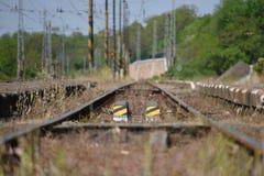 Dettaglio della pista nella stazione di Libechov in Boemia centrale Fotografia Stock