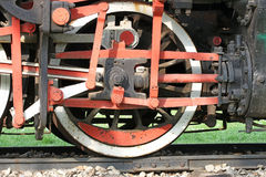 Dettaglio della ruota del ferro della locomotiva a vapore Fotografia Stock