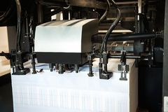 Dettaglio della stampatrice dei rulli in offset Fotografia Stock