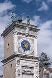 Dettaglio della torre di orologio di Udine, Friuli Venezia Giulia, Italia fotografia stock libera da diritti