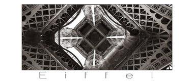 Dettaglio della torre Eiffel con fondo bianco ed iscrizione grigia Parigi, Francia Fotografie Stock Libere da Diritti