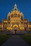 Dettaglio della vista di sera della casa di governo in Victoria BC fotografia stock libera da diritti