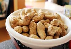 Dettaglio delle arachidi deliziose in ciotola bianca Immagini Stock Libere da Diritti