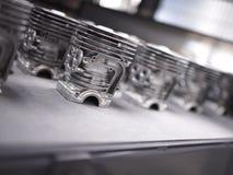Dettaglio delle fusioni di alluminio in un Li di produzione del motore del motociclo Fotografia Stock Libera da Diritti