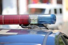 Dettaglio delle luci delle sirene di polizia rosse e blu Fotografie Stock Libere da Diritti