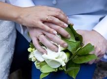 Dettaglio delle mani delle persone appena sposate immagine stock libera da diritti
