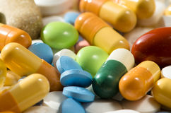 Dettaglio delle pillole Immagini Stock