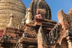 Dettaglio delle tempie antiche in Bagan, Myanmar (Birmania fotografia stock libera da diritti