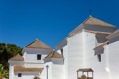 Dettaglio delle torri di chiesa a Mijas Immagine Stock