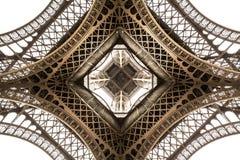 Dettaglio di architettura della torre Eiffel, vista dal basso Angolo unico Immagini Stock