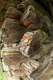 Dettaglio di costruzione di legno antica veduta con fisheye Fotografia Stock Libera da Diritti