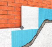Dettaglio di isolamento termico di un muro di mattoni con i pannelli del poliuretano su un 3d bianco Immagini Stock
