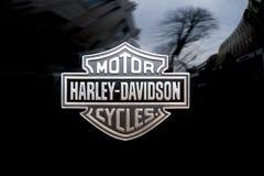 Dettaglio di logo sul motociclo di Harley Davidson immagini stock libere da diritti