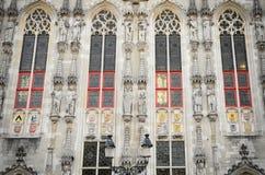 Dettaglio di municipio, Bruges Immagini Stock