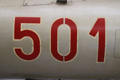 Dettaglio di numero sugli aerei di MIG 21 numeri del ` del ` 501 nello stile russo Fotografia Stock Libera da Diritti