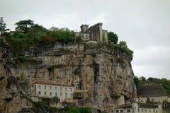 Dettaglio di Rocamadur in un giorno nuvoloso Fotografia Stock Libera da Diritti