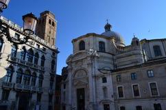 Dettaglio di San Geremia Church nel sestiere di Cannaregio che affronta Grand Canal a Venezia, Italia Fotografie Stock