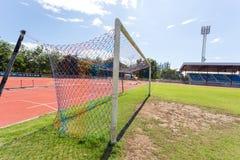 Dettaglio di scopo di calcio con un calcio Fotografia Stock Libera da Diritti
