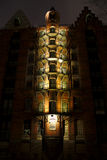Dettaglio di Speicherstadt Amburgo alla notte Immagini Stock Libere da Diritti