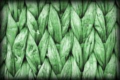 Dettaglio di struttura di lerciume di Kelly Green Palm Fiber Place Mat Coarse Plaiting Rustic Vignetted immagine stock libera da diritti