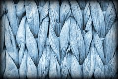 Dettaglio di struttura di lerciume di Mat Coarse Plaiting Rustic Vignetted del posto della fibra della palma dei blu polvere fotografia stock libera da diritti
