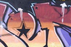 Dettaglio di un'arte dei graffiti su una parete Fotografia Stock Libera da Diritti