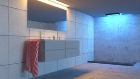 Dettaglio di un bagno, di un lavandino dello specchio e di una doccia Bagno moderno e luci di rilassamento Fotografia Stock Libera da Diritti